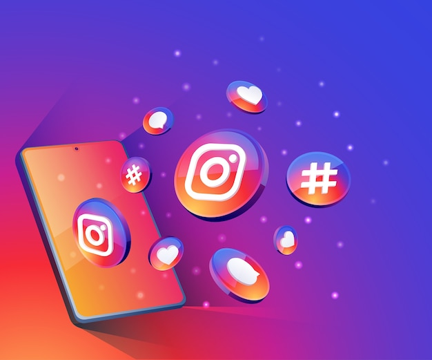 Instagram 3d social media icons with smartphone symbol