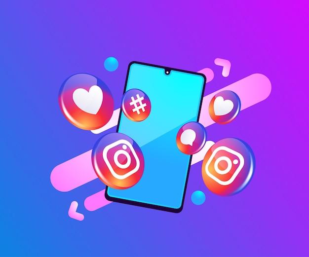 スマートフォンのシンボルとinstagramの3dソーシャルメディアアイコン