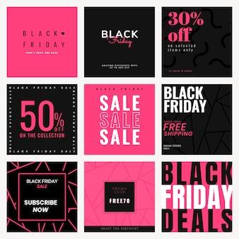 검은 금요일 판매 세트에 대한 instagram 광고 템플릿 벡터