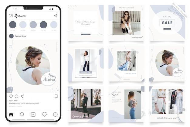 Instagram и facebook квадратная рамка головоломки плакат. социальный медиа пост баннер для продвижения моды продажи