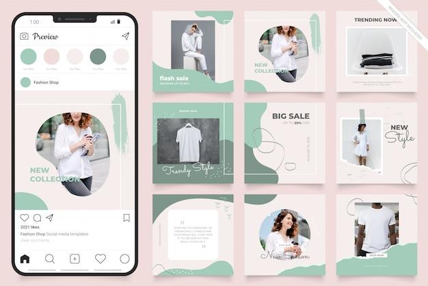 Instagramとfacebookの正方形のフレームパズルポスター。ファッションセールプロモーションのソーシャルメディアポストバナー