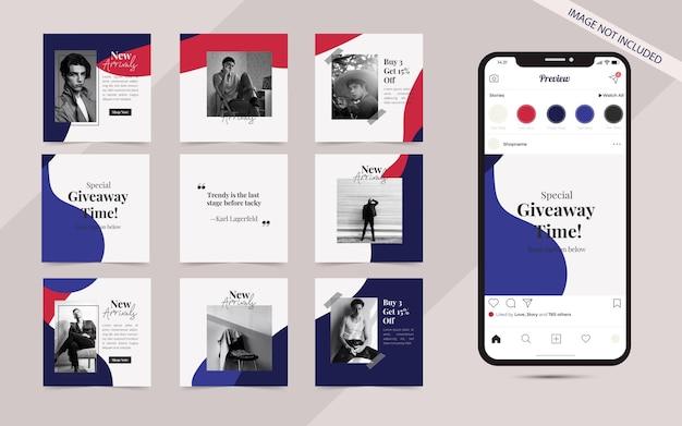 Instagram 및 facebook 사각형 프레임 퍼즐 패션 판매 프로모션을위한 소셜 미디어 게시물 배너