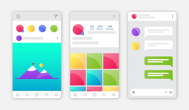 Instagram app interface with flat design