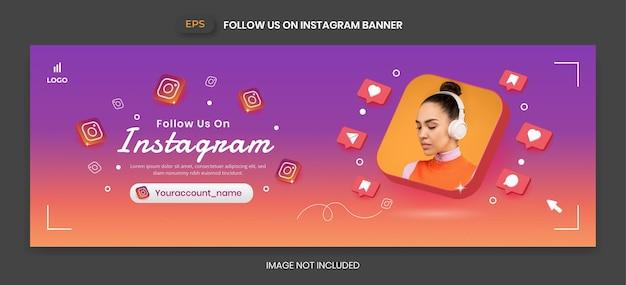 Баннер instagram с 3d векторным значком для продвижения бизнес-страницы и публикации в социальных сетях