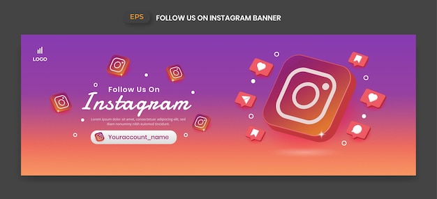 ビジネスページのプロモーションやソーシャルメディアの投稿のための3dベクトルアイコンとinstagramのバナー