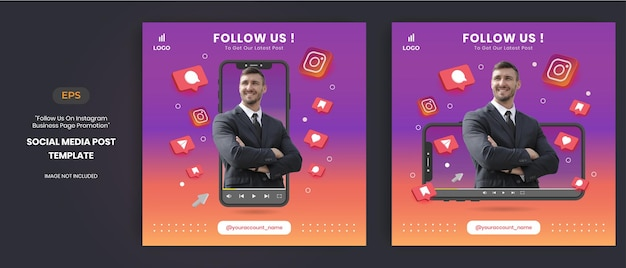Instagram business page promotion with 3d vector for social media post