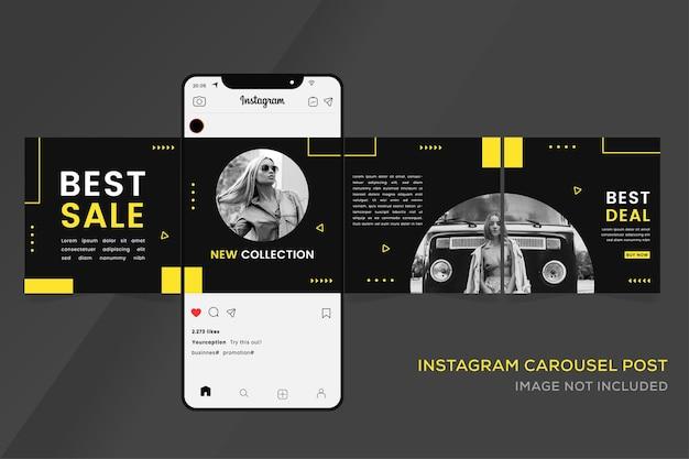 ソーシャルメディアプレミアム用のinstagramカルーセルバナーテンプレート
