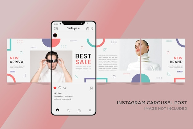 ファッション販売のためのinstagramカルーセルinstagramテンプレート