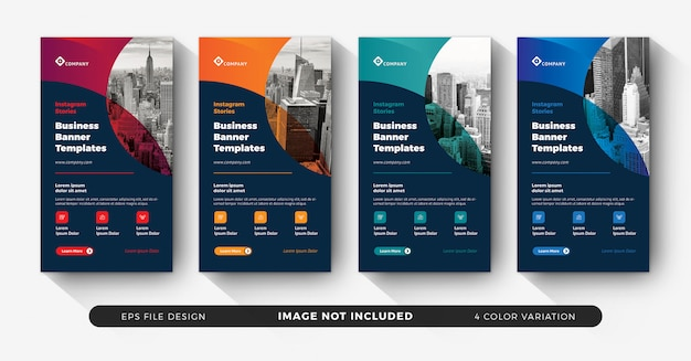 Instagram creative corporate business banners for stories feed set Premium Vector