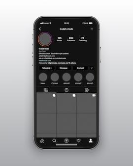 Instagram dark mode ui ux template