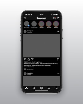 Instagram dark mode ui ux template