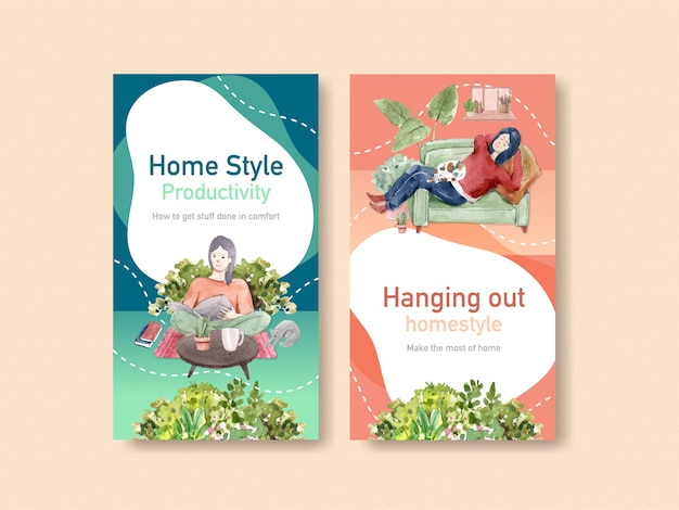 Instagram design stay at home concept with people character and interior room watercolor illustration