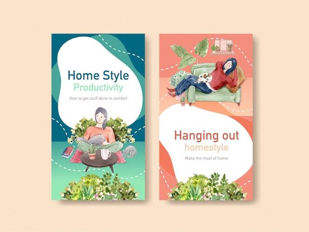 Concetto di soggiorno di progettazione di instagram a casa con il carattere della gente e l'illustrazione interna dell'acquerello della stanza