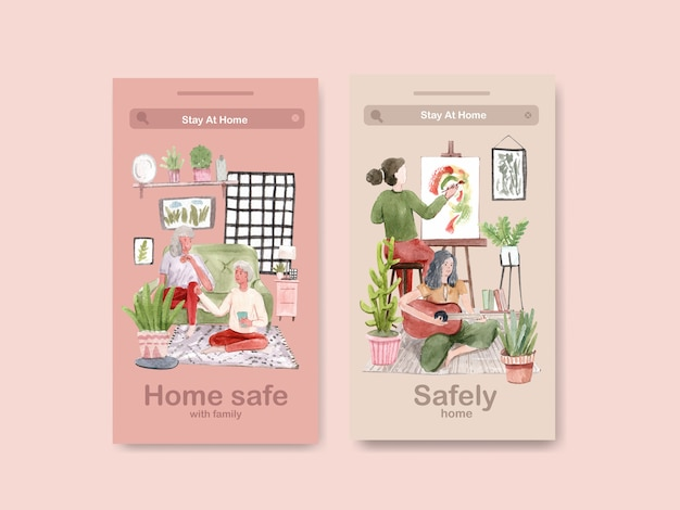 Instagram design stay at home concept with people drawing and family watercolor illustration