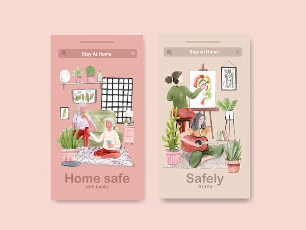 Concetto di soggiorno di progettazione di instagram a casa con il disegno della gente e l'illustrazione dell'acquerello della famiglia