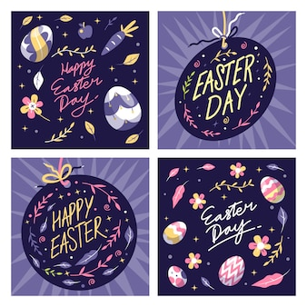 Instagram пасхальный пост с яйцами и цветами