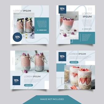 Еда кулинарные социальные медиа instagram facebook ads banner post шаблон коллекция набор с минималистским и чистым стилем. скидка. распродажа. продвижение. подача. layout. дизайн. синий.