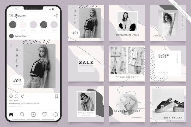 Instagram and facebook square frame puzzle poster. social media post banner for fashion sale promotion.