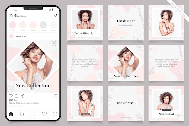 Instagram and facebook square frame puzzle poster. social media post banner for fashion sale promotion