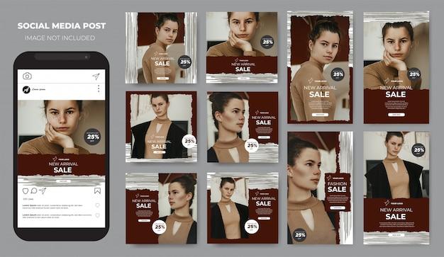Instagram fashion sale brush pencil social media post feed