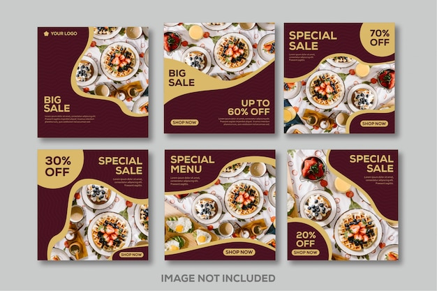 Instagram feed post template social media food luxury restaurant red gold