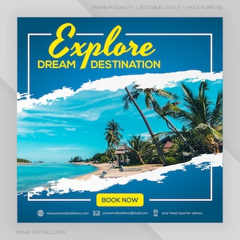 Instagram feed post travel template premium