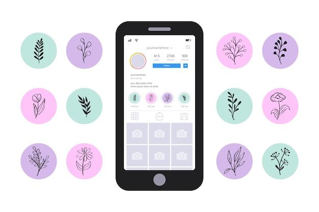 Instagram floral stories highlights