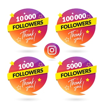 Instagramのフォロワーのお祝いバナーとロゴ