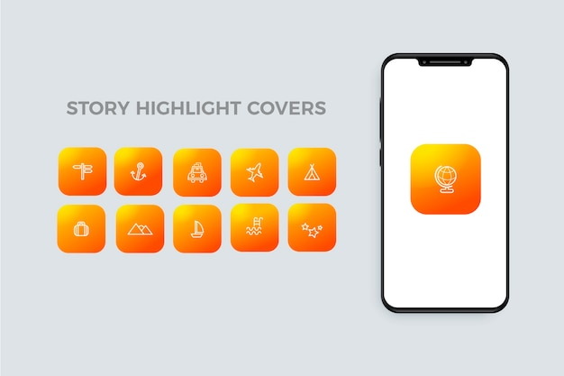 Instagram gradient stories highlights with icons