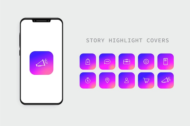 Instagram gradient stories highlights