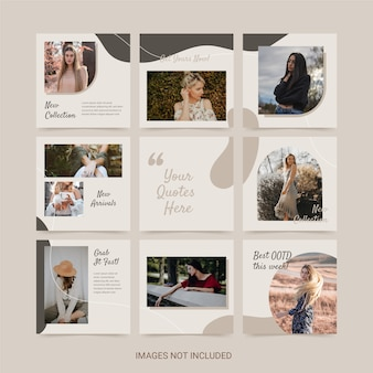 Instagram grid template with fashion theme