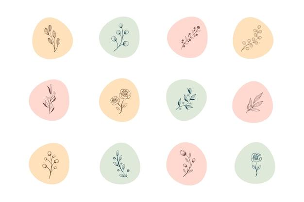 Instagram рисованной цветочные истории основные моменты