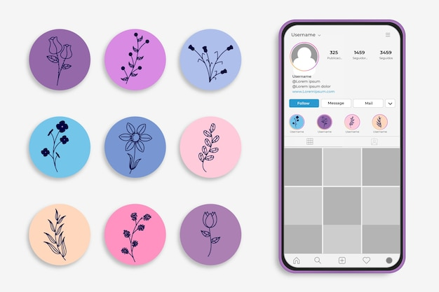 Instagram hand-drawn floral stories highlights