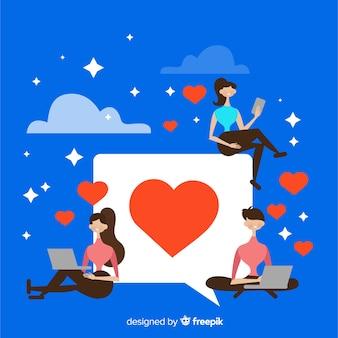 Instagram heart. teenagers on social media. character design.