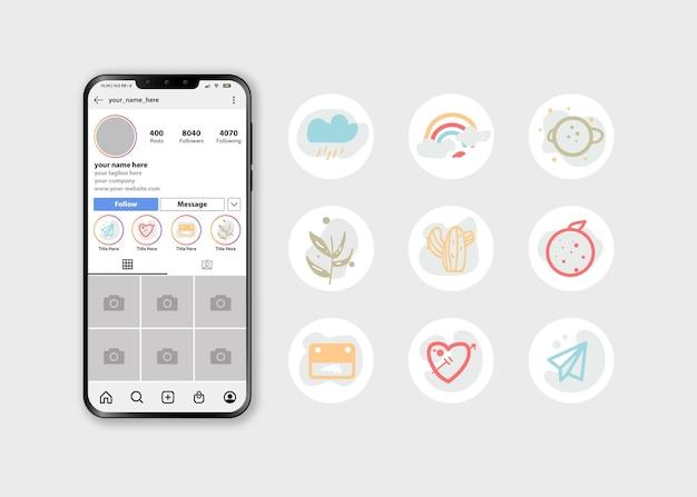추상적 인 아이콘과 로고로 설정된 instagram 하이라이트 커버 아이콘