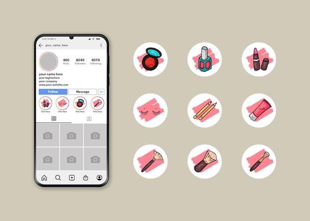 Набор иконок для обложки instagram с логотипами набора для макияжа