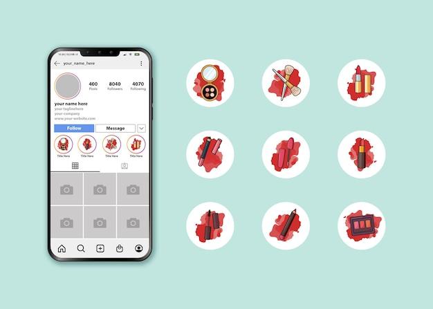 메이크업 키트 로고로 설정된 instagram 하이라이트 커버 아이콘