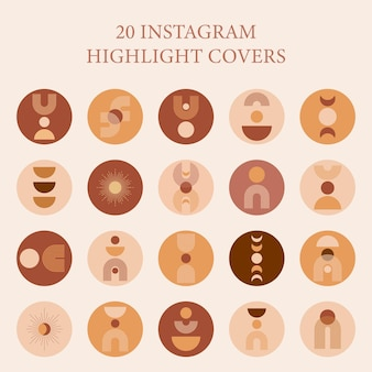 Instagram highlight cover with mid century shape