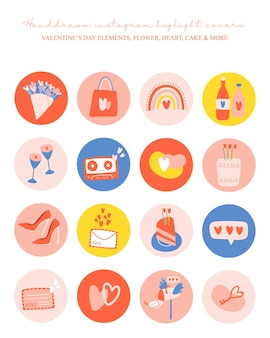 Instagram 하이라이트는 발렌타인 데이 요소로 설정된 표지 아이콘을 강조합니다.