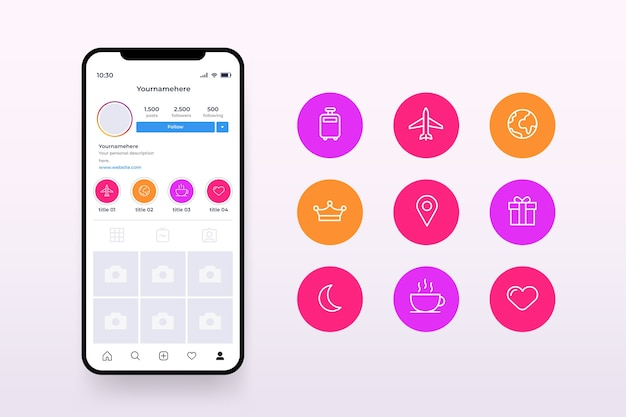 Instagram icon stories highlights in multiple colors