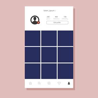 Instagram interface for mobile app. flat design photo frame