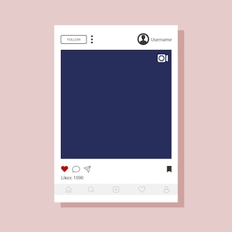 Instagram interface template for mobile app.