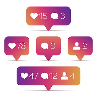 Instagram like, follower, comment icons