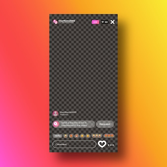 Instagram live stream interface template