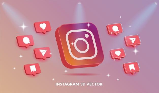 Instagram 로고 및 아이콘 3d 벡터 스타일 설정