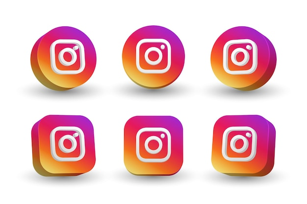 Instagram logo icon collection isolated on white Premium Vector