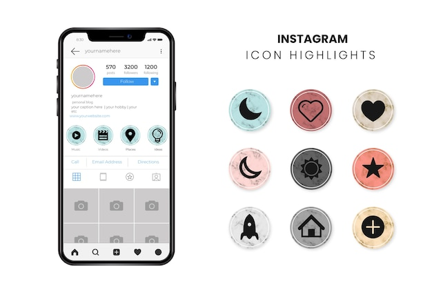 Instagram marble stories highlights