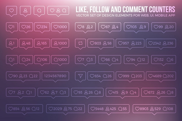 Instagram modern outline counter icons set