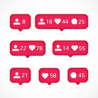 Instagram notification collection Free Vector