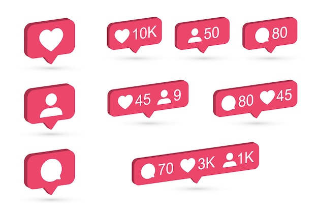Instagram notifications icon set. 3d design with flat colors. vector illustration.